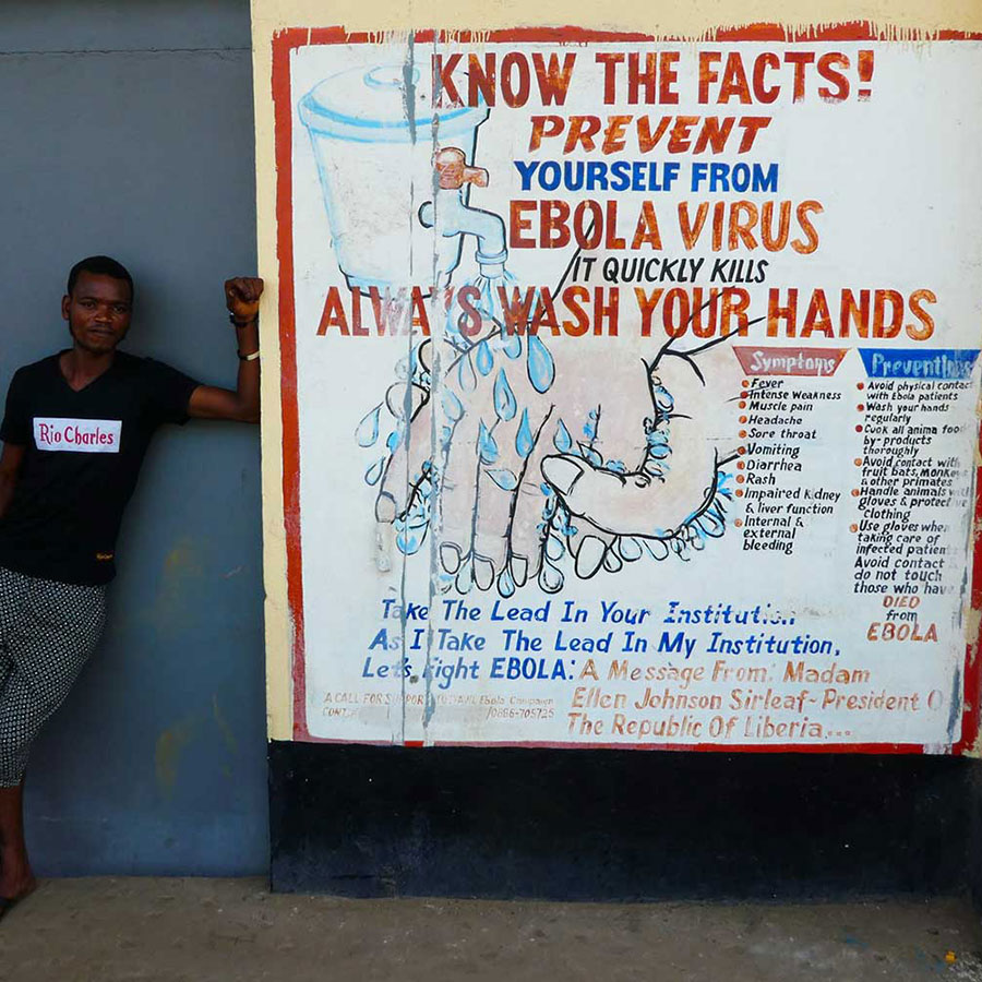 Public information poster encouraging people to wash their hands to help prevent the spread of Ebola. Credit: Gavi/2016/Duncan Graham-Rowe
