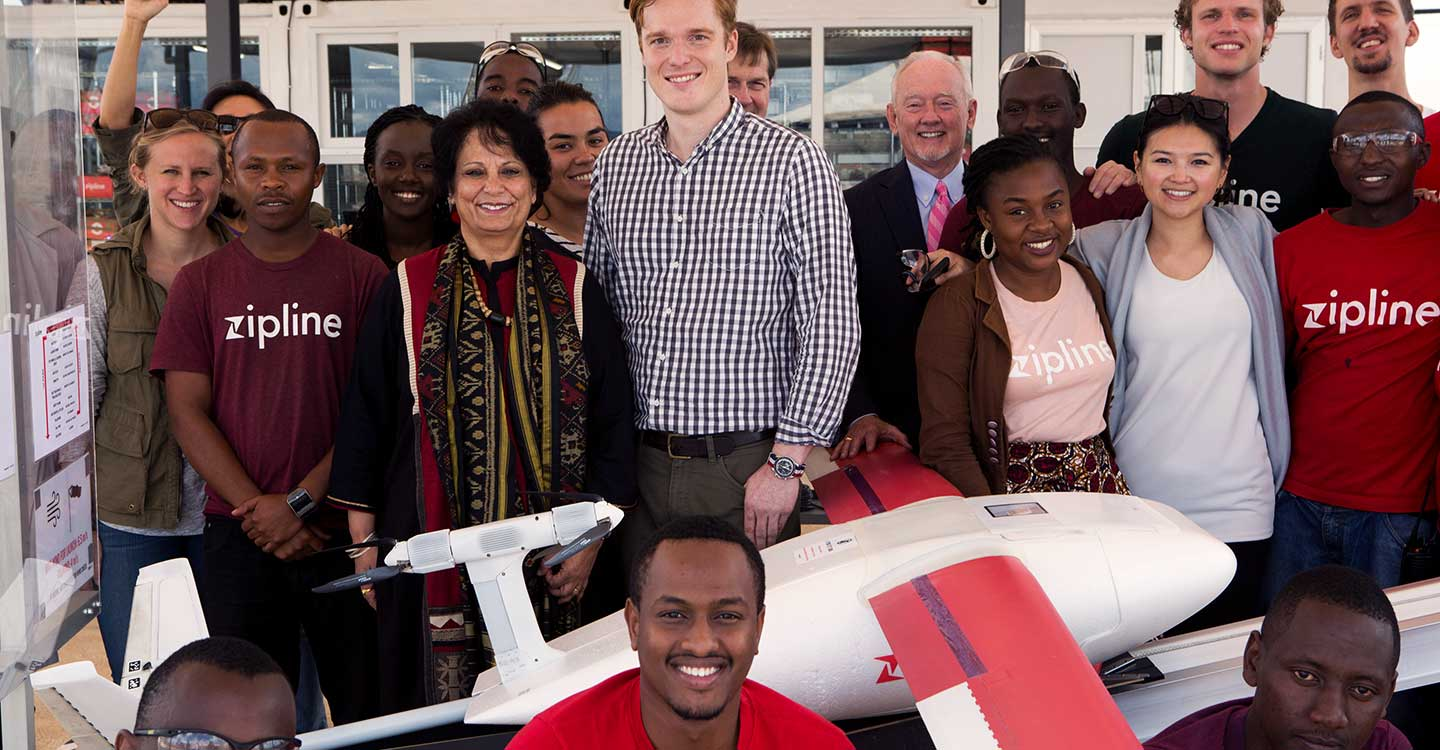 Gavi Deputy CEO Anuradha Gupta pose with Zipline's team after the successful launch of their new drone called Robin, Tuesday, 8 May 2018 at their base in Muhanga, Rwanda - Gavi/2018/KAREL PRINSLOO
