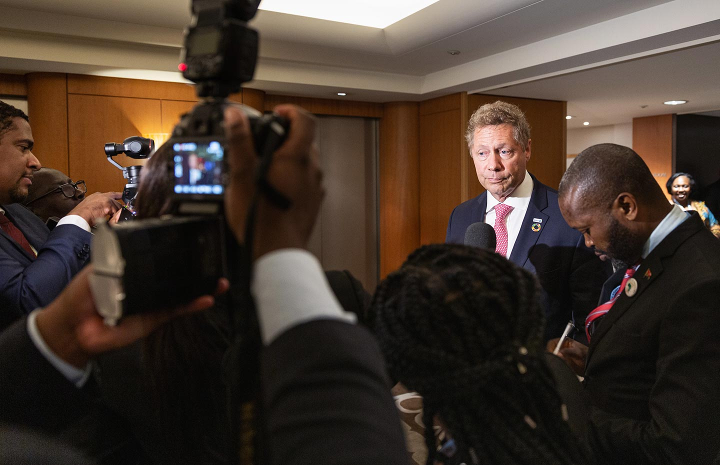 Gavi/2019/Isaac Griberg- Gavi CEO, Dr Seth Berkley, interviewed by media following a meeting with H.E. President Joao Lourenco, President of Angola, on the occasion of the 7th Tokyo International Conference on African Development (TICAD) in Yokohama