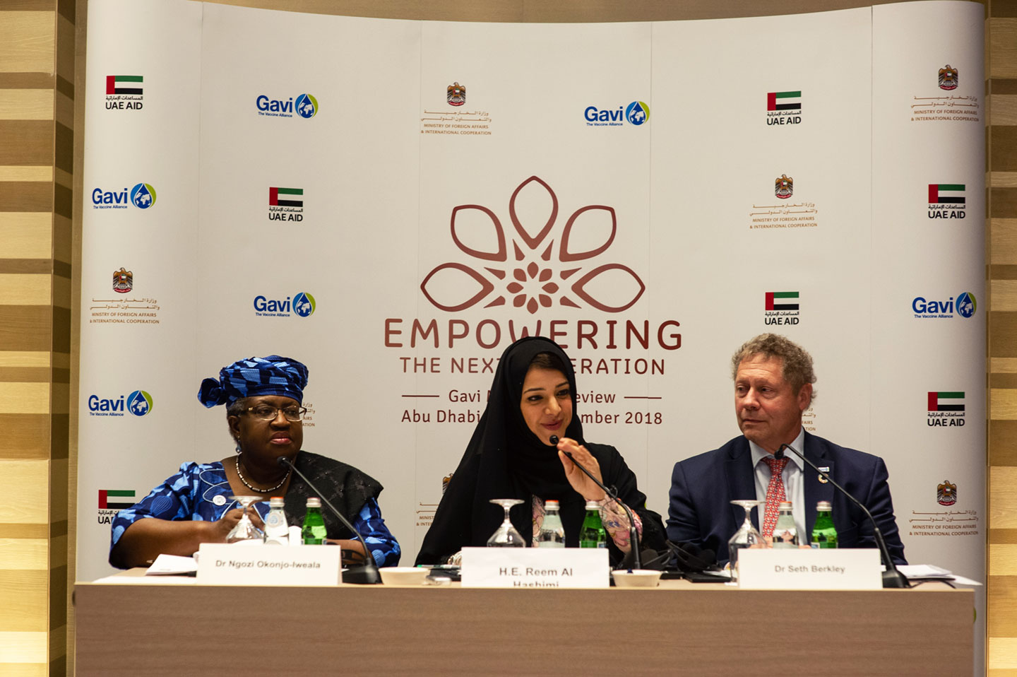 Left to right: Ngozi Okonjo-Iweala, Chair of the Gavi Board, Switzerland, Reem Al Hashimy, Minister of State for International Cooperation, United Arab Emirates, Seth Berkley, CEO, Gavi, the Vaccine Alliance, Switzerland- credits:Gavi/2018/Oscar Seykens