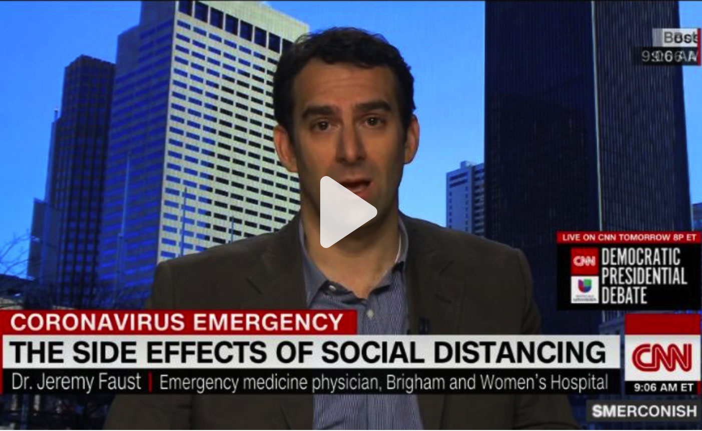 Image from CNN article – ER Doctor on lack of virus testing and social distancing concerns 05:08