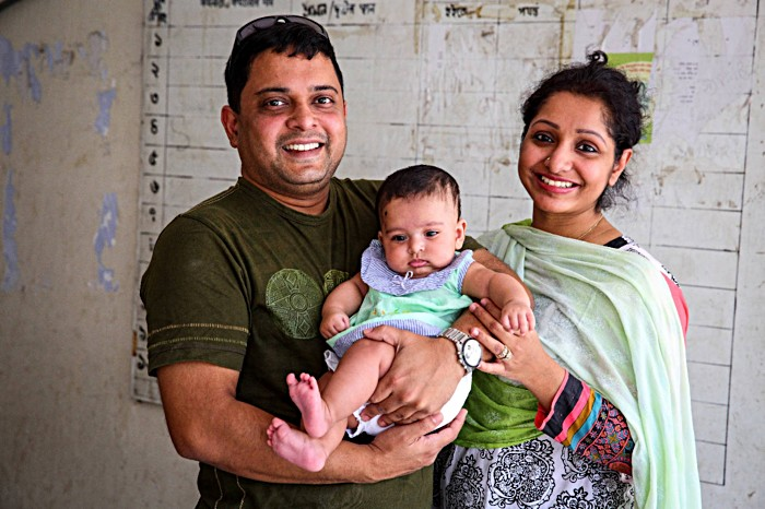 Mahmun and Moon bring their son Sahrish to the Dhaka Expanded Program of Immunization (EPI) Center to receive the pneumococcal (PCV) and inactivated polio (IPV) vaccines, during the launch of the national PCV/IPV campaign. For many children like Sahrish, vaccination serves as an initial entry point into the health system, making them more likely to receive additional recommended vaccines and further primary health care in the future.