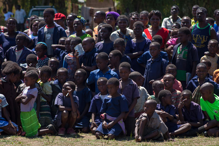 Large crowds of school children watch the performances at the ceremony. Rotavirus, the most common cause of severe and fatal diarrhoea, takes the lives of over 3600 Zambian children under five each year.