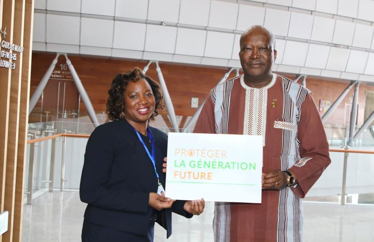 Roch Marc Christian Kaboré, President of Burkina Faso, Chioma Nwachukwu, Senior manager, Public Policy Engagement, Gavi, the Vaccine Alliance – Credit: Gavi/2020