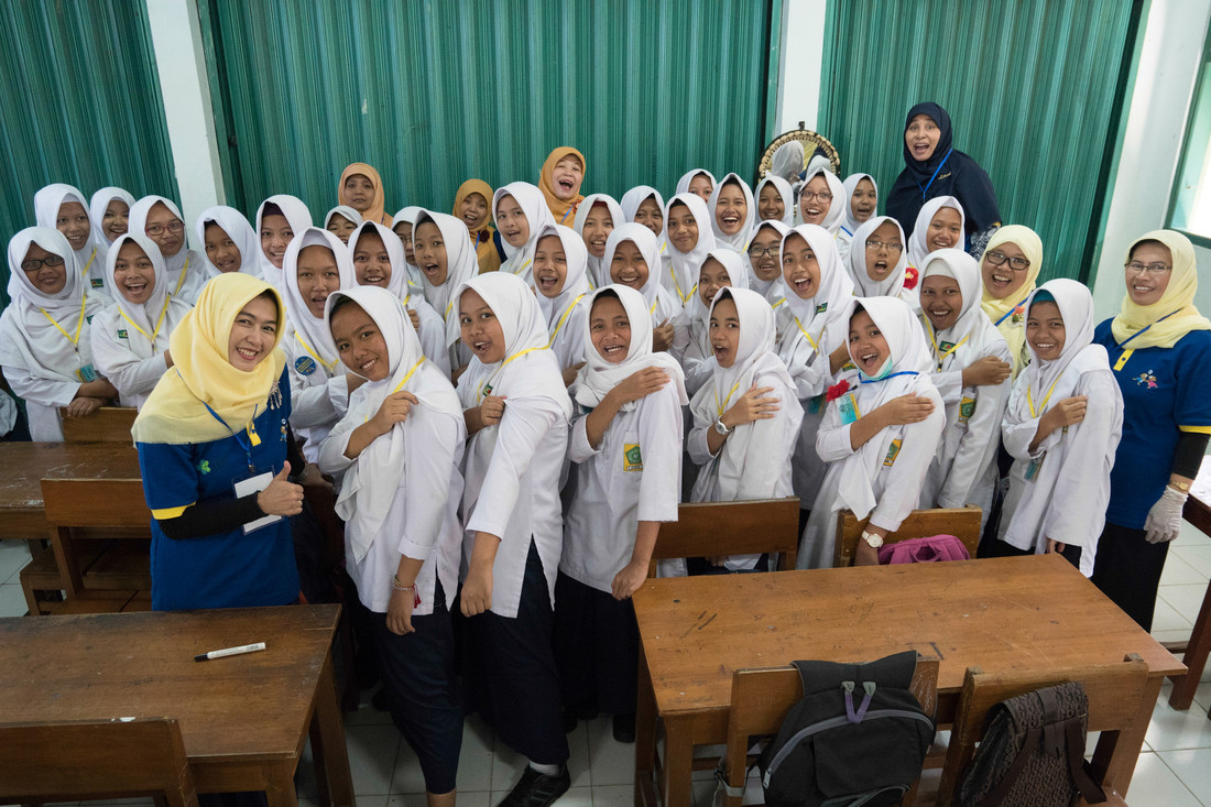 Students at a junior high school at the launch of Indonesia's national measles-rubella immunisation campaign. August 2017. Credit: Gavi/2017/Ardiles Rante.