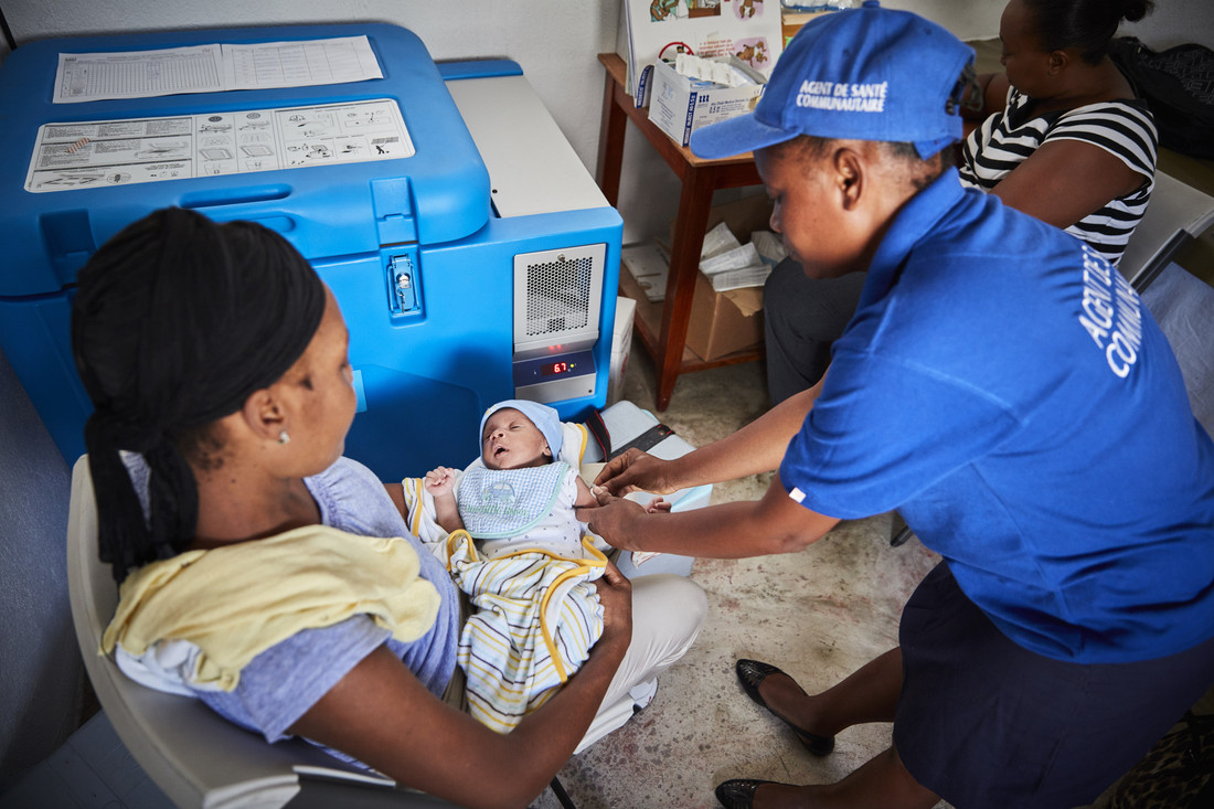 A child being vaccinated in Haiti. Credit: Gavi/2017/Christophe da Silva.