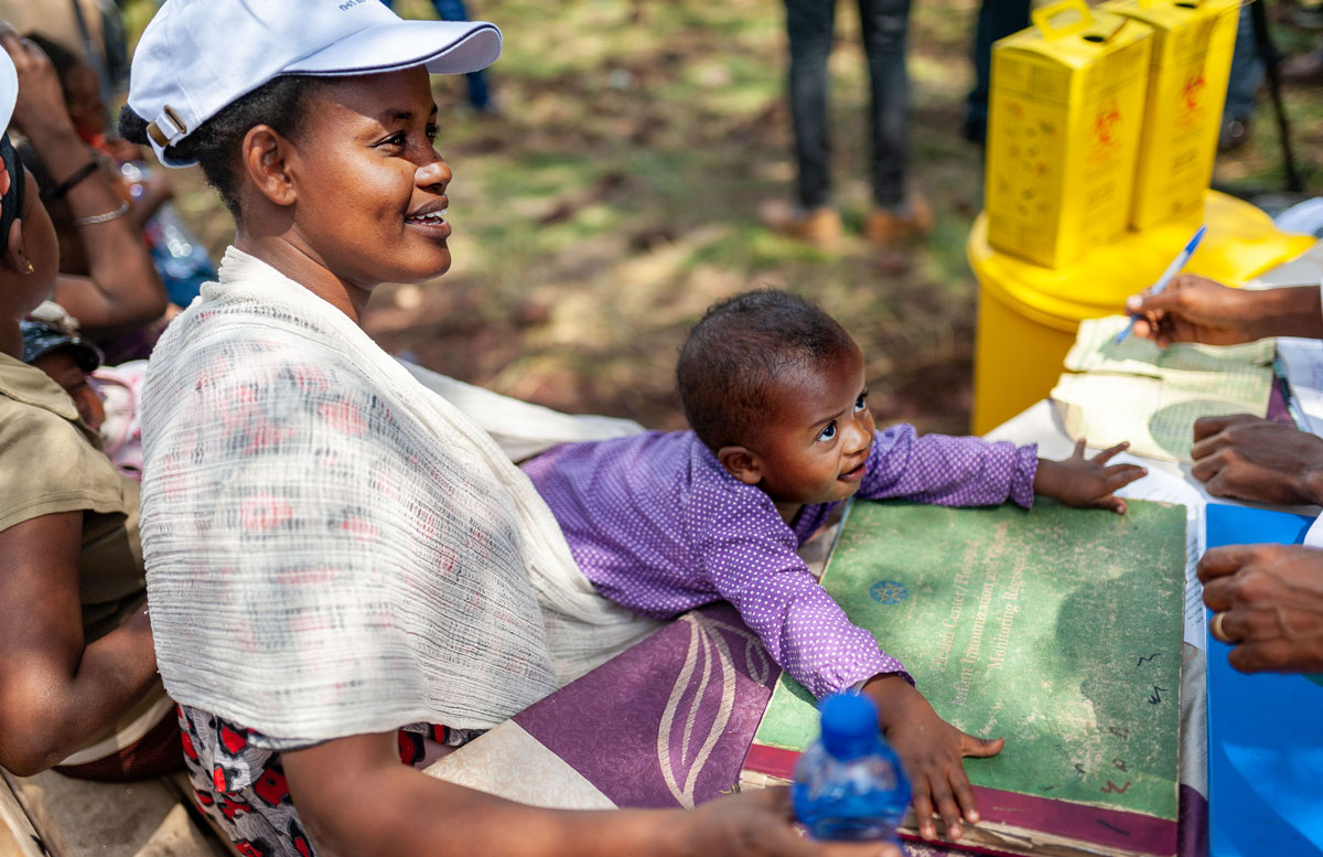 Introduction in Ethiopia of a second dose of measles-containing vaccine into routine immunisation programmes. Credit: 2019/Gavi/Frédérique Tissandier.