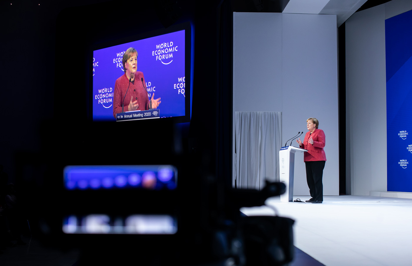 Angela Merkel, Federal Chancellor of Germany, speaking during her Special Address at WEF 2020. Credit: World Economic Forum/Ciaran McCrickard.