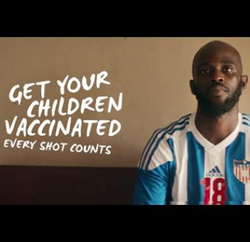 CAF and African football stars team-up to promote immunisation for children at 2017 Total Africa Cup of Nations