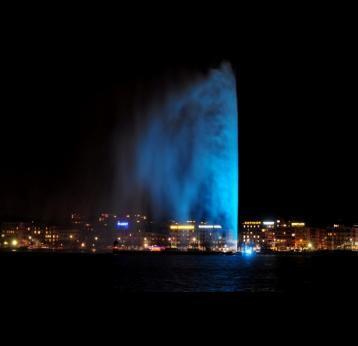 Geneva marks World Pneumonia Day by turning landmark fountain blue