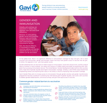 Factsheet: Gender and immunisation
