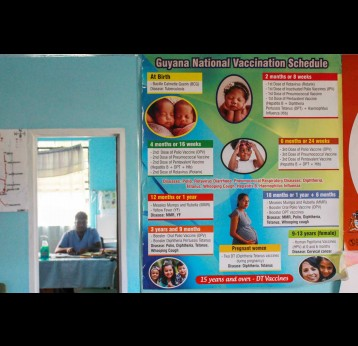 Devin Sanasie, the Medex in the community of Aishalton, sits in his office at the Aishalton District hospital. All childhood vaccines given as part of Guyana's early childhood immunization program are given at this hospital. Photo courtesy Vishani Ragobeer.