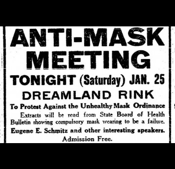 Advert for the Anti-Mask Meeting held in San Francisco in 1919; Credit: SF Chronicle