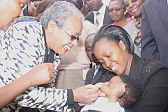 Her Excellency the First Lady of Kenya, Margaret Kenyatta launches Rotavirus Vaccine on 18th July 2014.