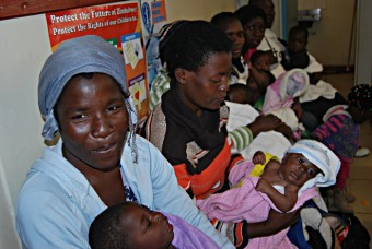 Mothers wait to vaccinate their babies at the Dzivarasekwa Clinic in Harare.