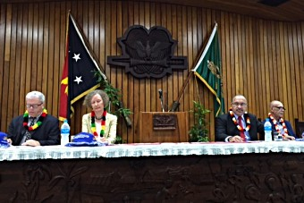 Official launch ceremony in PNG's Parliament building in Port Moresby. From left to right, Dr Pieter van Maaren, WHO Representative, Helen Evans, Special Representative of the Gavi CEO in the Asia-Pacific Region, Peter O'Neill, Prime Minister of Papua New Guinea and Michael Malabag, Minister of Health and HIV Aids.
