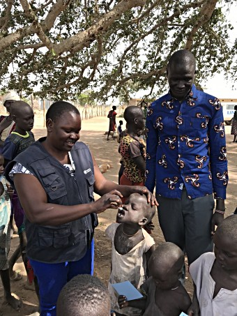 A child receives Oral Cholera Vaccine as part of a Gavi-funded campaign in South Sudan.