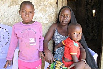 Central African Republic, a mother and her two children.