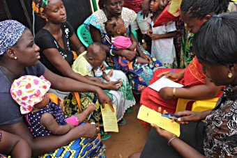 Mothers attending the launch ceremony of the PCV vaccine in Guinea Bissau, june 2015.