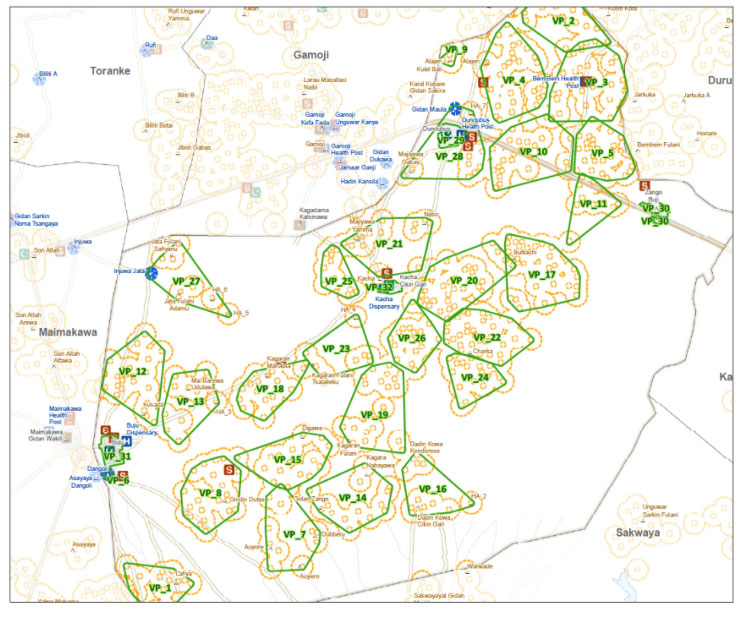 GIS-Map for micro-planning of Kacha ward, Dutse LGA, Jigawa state showing the distribution of vaccination teams across settlements. Photo source: NPHCDA