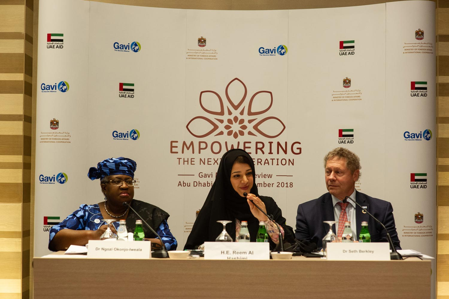 Gavi Board Chair Dr Ngozi Okonjo-Iweala; HE Reem Al Hashimy, UAE Minister of State for International Cooperation and Gavi CEO Dr Seth Berkley during the opening press conference in Abu Dhabi.